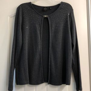 Dark gray open front cardigan with clasp